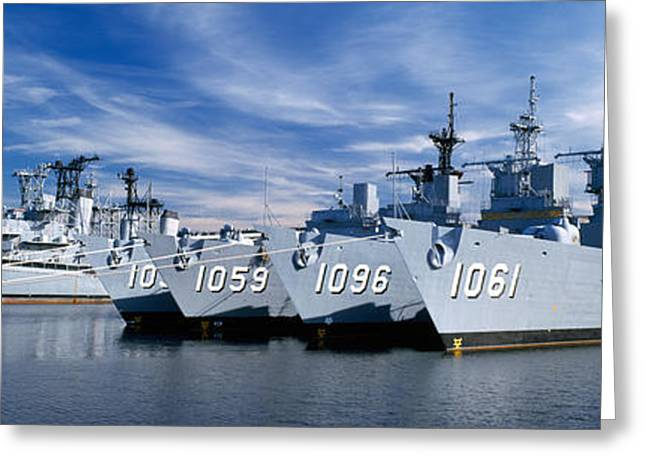Warships At A Naval Base, Philadelphia Greeting Card by Panoramic Images