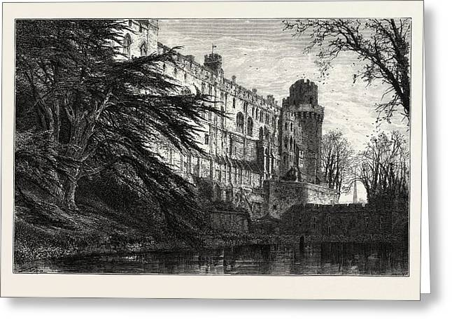 Warwick Castle From The West, Uk, Great Britain Greeting Card