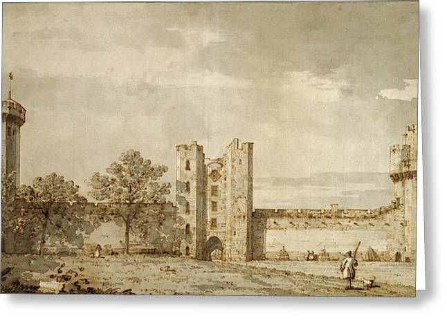Warwick Castle The East Front From The Courtyard Canaletto Greeting Card