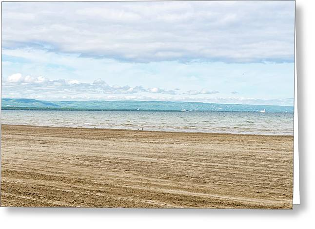 Wasaga Beach With Collingwood And Blue Greeting Card