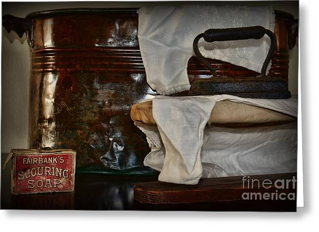 Wash And Ironing Day Greeting Card by Paul Ward