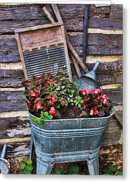 Wash Tub Planter Greeting Card by Linda Phelps