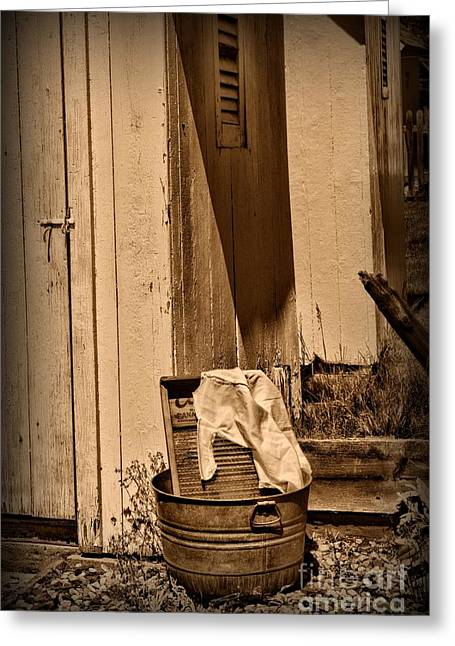 Washboard By The Outhouse Greeting Card by Paul Ward