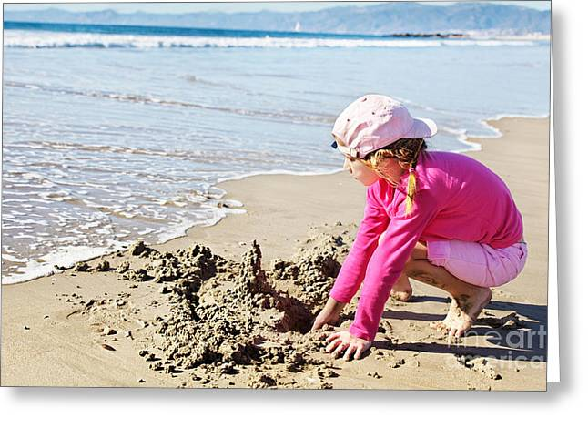 Washing Away A Sandcastle Greeting Card by Jo Ann Snover
