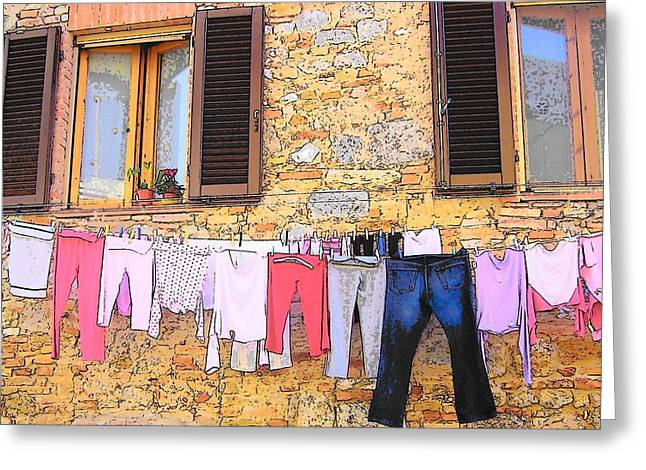 Washing Day Tuscany Greeting Card by Jan Matson