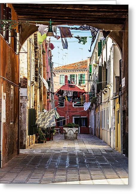 Washing Drying In The Wind In Venice Greeting Card