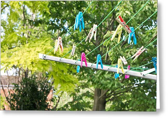 Washing Line Greeting Card by Tom Gowanlock