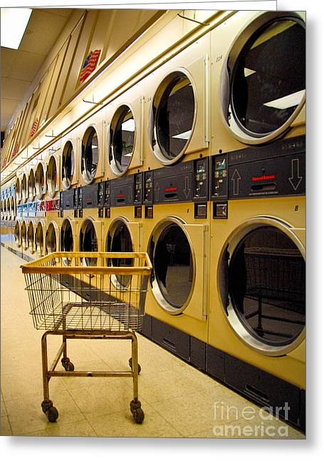 Washing Machines At Laundromat Greeting Card by Amy Cicconi