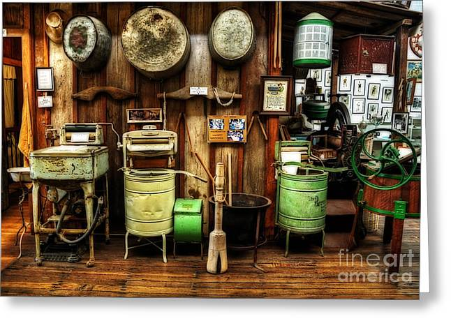 Washing Machines Of Yesteryear Greeting Card by Kaye Menner