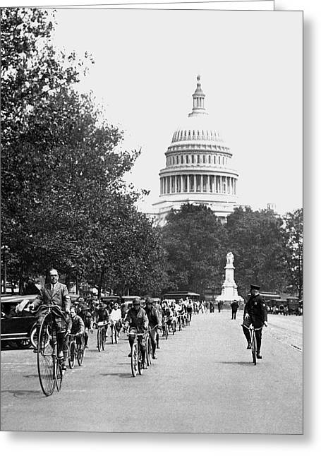 Washington Bicycle Parade Greeting Card by Underwood Archives