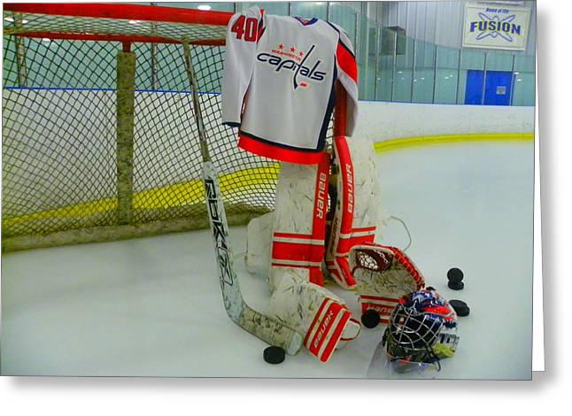 Washington Capitals Hockey Semyon Varlamov Away Jersey Greeting Card by Lisa Wooten
