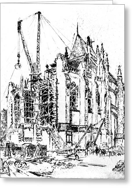 Washington Cathedral Construction 1923 Greeting Card by Padre Art
