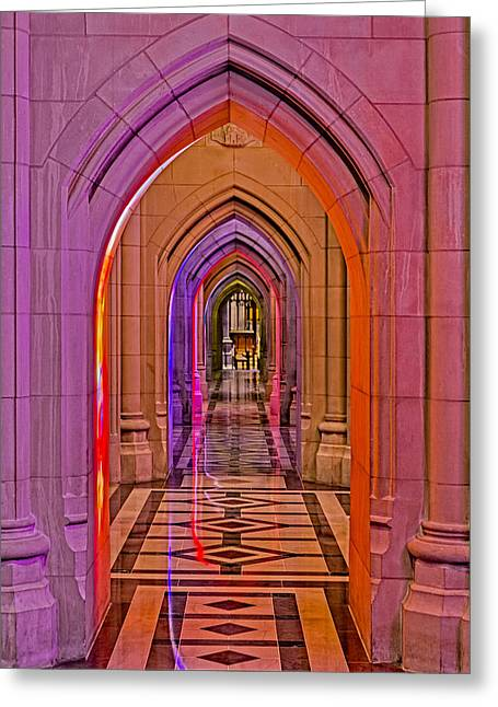Washington Cathedral Light Show Greeting Card by Susan Candelario