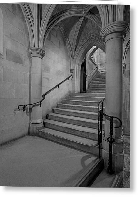 Washington Cathedral Staircase Architecture Bw Greeting Card by Susan Candelario