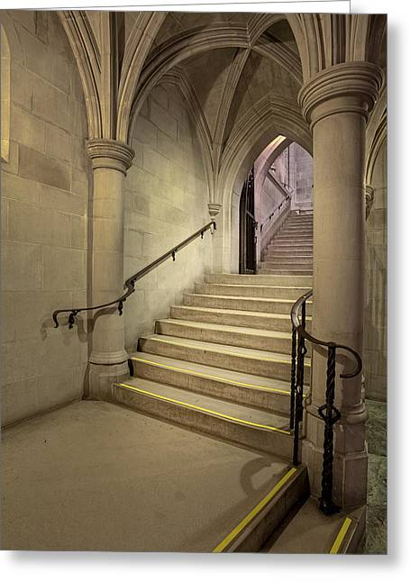 Washington Cathedral Staircase Architecture Greeting Card by Susan Candelario