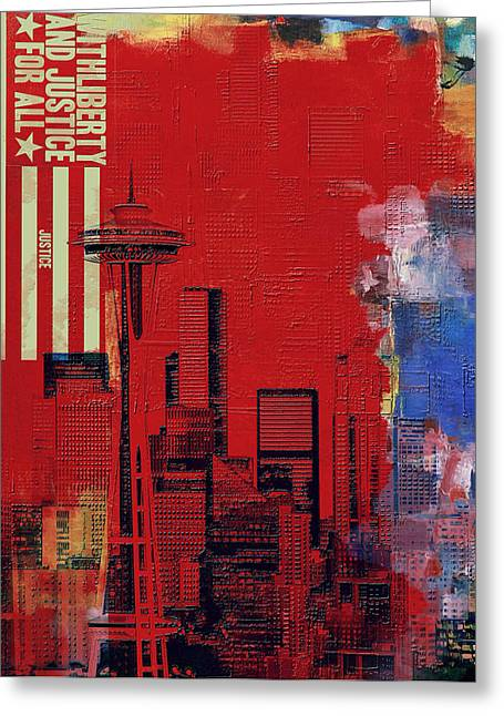 Washington City Collage 3 Greeting Card by Corporate Art Task Force
