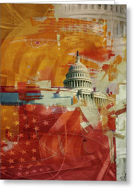 Washington City Collage 4 Greeting Card by Corporate Art Task Force