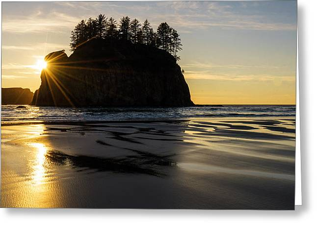 Washington Coast Seastack Sunstar Evening Greeting Card by Mike Reid