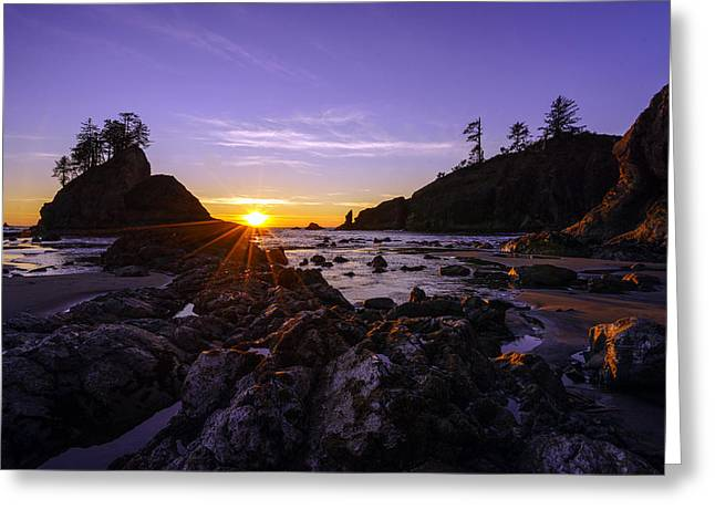 Washington Coast Sunset Dusk Greeting Card by Mike Reid