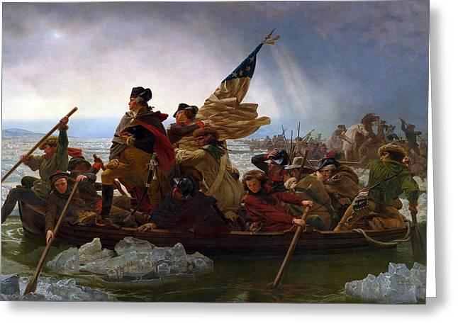 Washington Crossing The Delaware Greeting Card by Emanuel Gottlieb Leutze