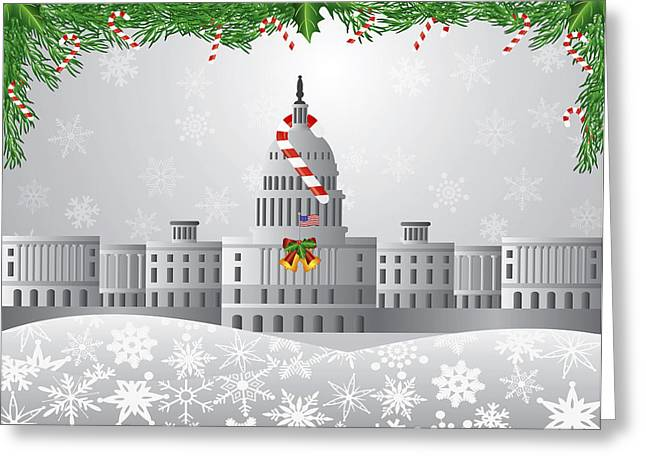 Washington Dc Capitol Christmas Scene Illustration Greeting Card by JPLDesigns