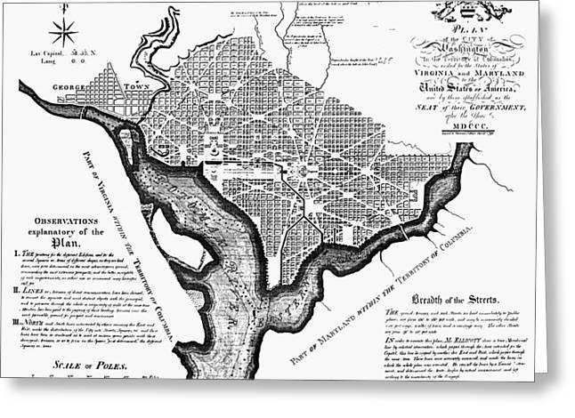 Washington, D.c. Plan, 1792 Greeting Card by Granger