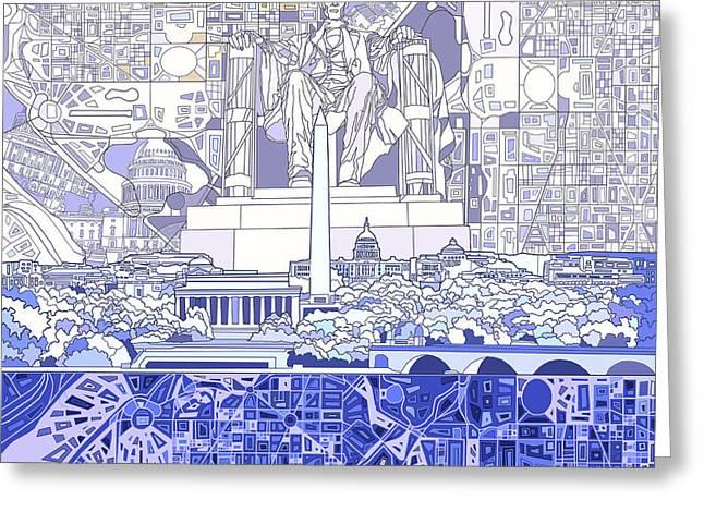 Washington Dc Skyline Abstract 3 Greeting Card by Bekim Art
