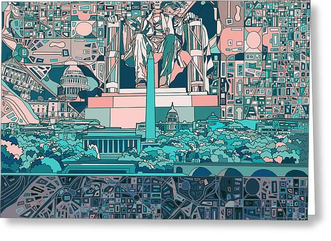 Washington Dc Skyline Abstract 5 Greeting Card