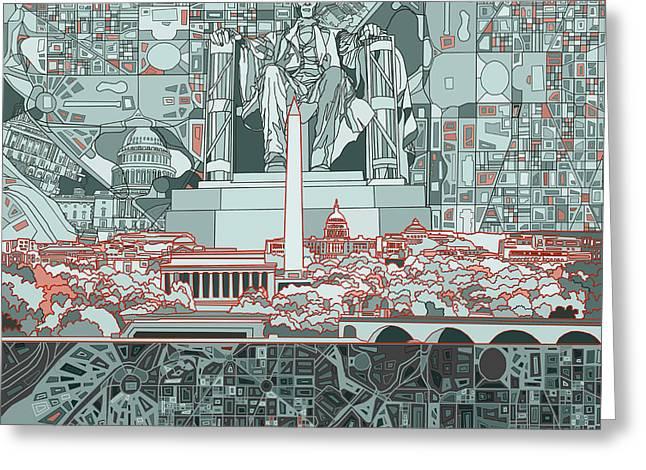 Washington Dc Skyline Abstract Greeting Card