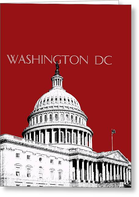 Washington Dc Skyline The Capital Building -  Dk Red Greeting Card