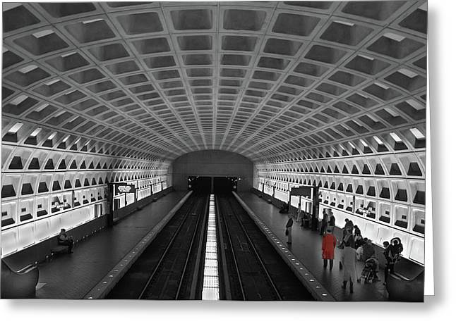 Greeting Card featuring the photograph Washington Dc Subway by Geraldine Alexander