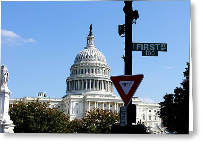 Washington Dc - Who Will Yield First? Greeting Card