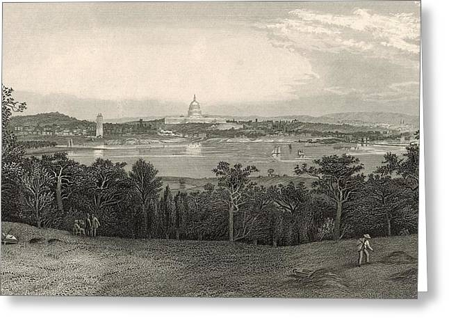Washington From Arlington Heights 1872 Engraving Greeting Card by Antique Engravings