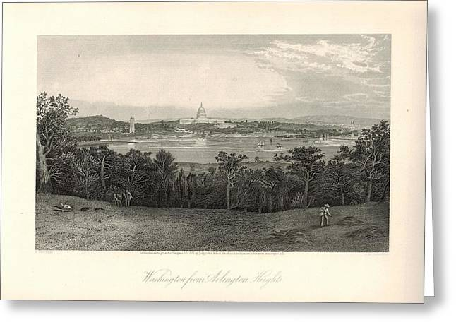 Washington From Arlington Heights 1872 Engraving With Border Greeting Card by Antique Engravings