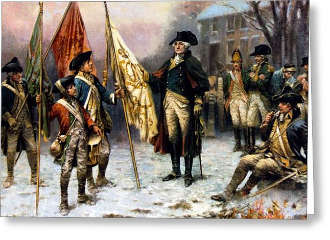 Washington Inspecting The Captured Colors Greeting Card