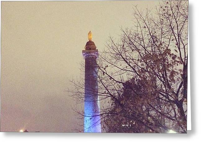 Washington Monumen Pre-lighting Greeting Card by Toni Martsoukos