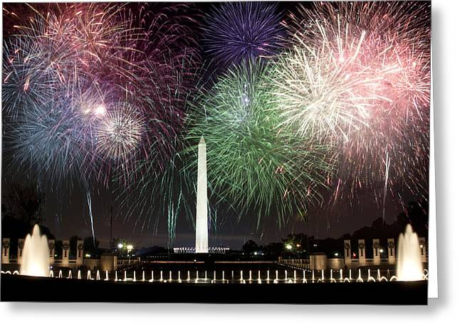 Washington Monument And Wwii Memorial Under Fireworks  Greeting Card by Regina  Williams