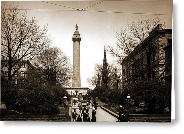 Washington Monument, Baltimore, Jackson, William Henry Greeting Card by Litz Collection