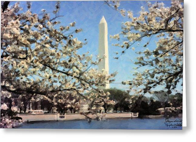 Washington Monument Cherry Blossoms Greeting Card by Spyder Webb