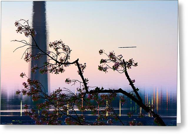 Washington Monument Reflection With Cherry Blossoms Greeting Card