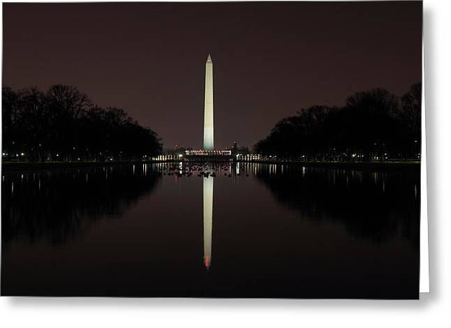 Washington Monument Reflections At Night Greeting Card