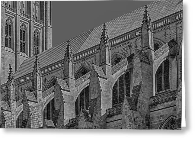 Washington National Cathedral  Bw Greeting Card