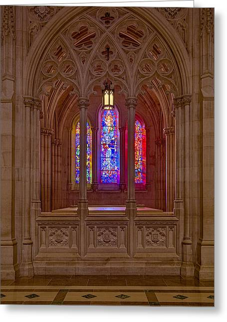 Washington National Cathedral Colors Greeting Card by Susan Candelario