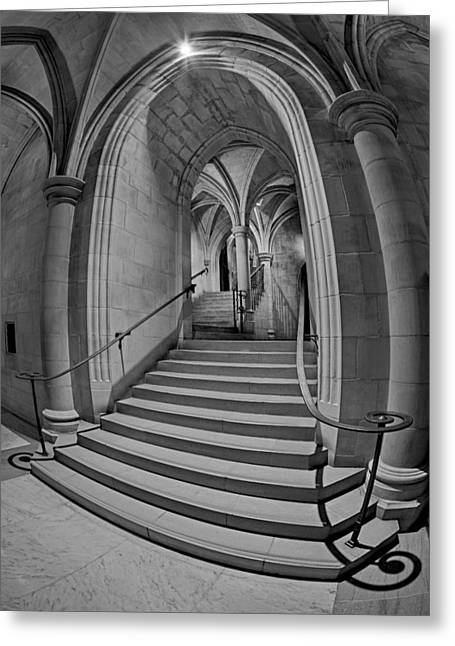 Washington National Cathedral Crypt Level Stairs Bw Greeting Card by Susan Candelario