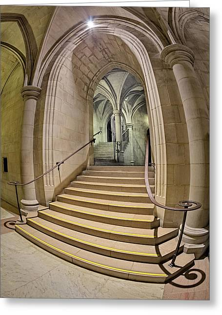 Washington National Cathedral Crypt Level Stairs  Greeting Card by Susan Candelario