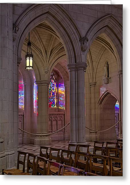 Washington National Cathedral Stained Glass Colors Greeting Card by Susan Candelario