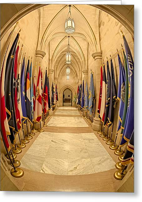 Washington National Cathedral State Flags Greeting Card by Susan Candelario