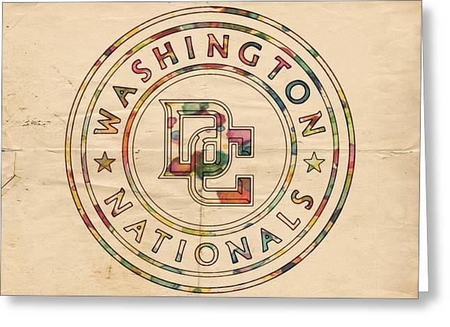 Washington Nationals Poster Vintage Greeting Card by Florian Rodarte