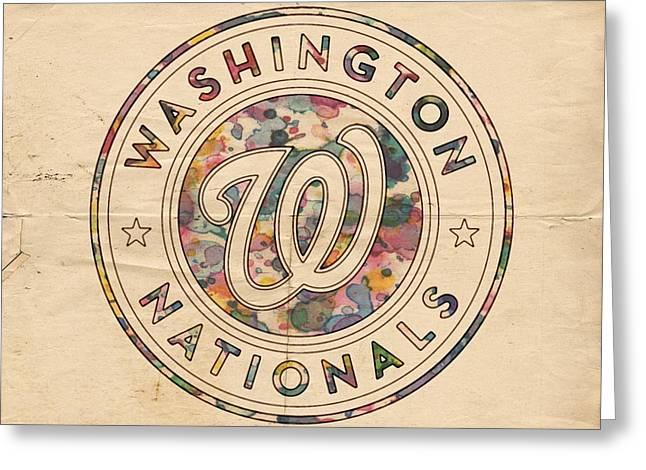 Washington Nationals Vintage Art Greeting Card by Florian Rodarte
