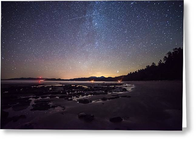 Washington Olympic Night Sky Meteor Greeting Card